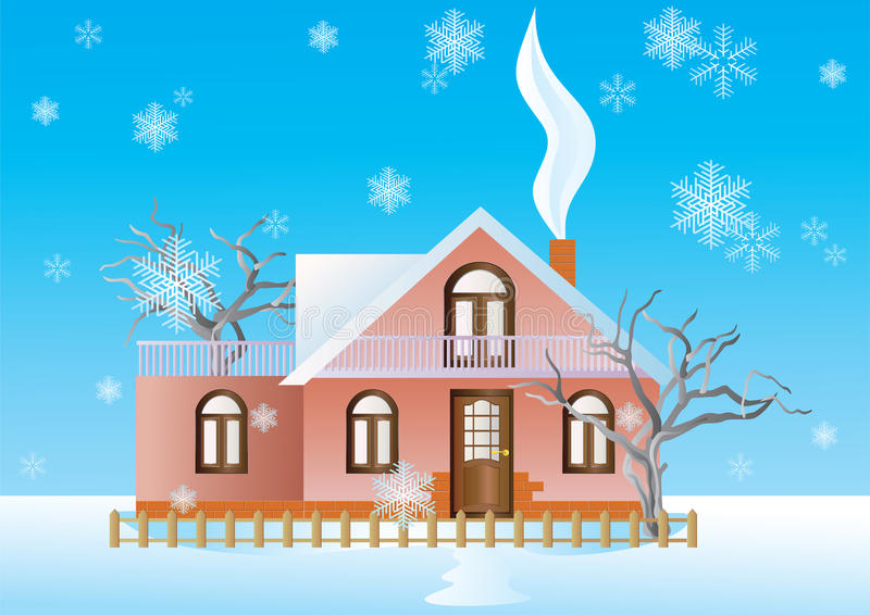 Häuschen im Winterhintergrund. lizenzfreie abbildung