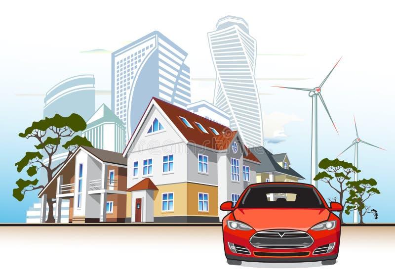 Häuschen und Wolkenkratzer, Windkraftanlage, Elektroauto stockbilder