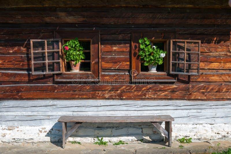 Häuschen von Nolcovo - Museum des slowakischen Dorfs, JahodnÃcke-hà ¡ je, Martin, Slowakei lizenzfreies stockfoto