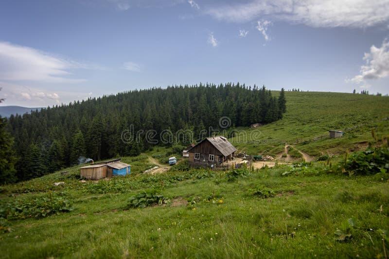 Häuser auf dem Polonin in den Karpatenbergen ukraine lizenzfreie stockfotos