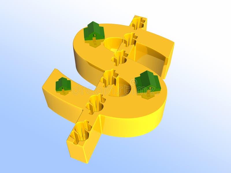Häuser auf Dollarzeichen. vektor abbildung