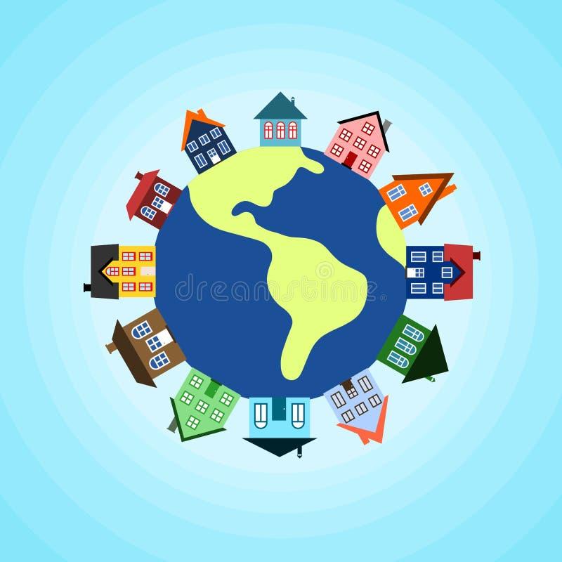 Häuser auf Erde lizenzfreie abbildung