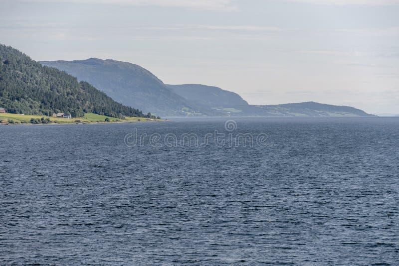 Häuser auf grünem Vorgebirge in der Nähe von Stadsbygd, Norwegen stockbilder