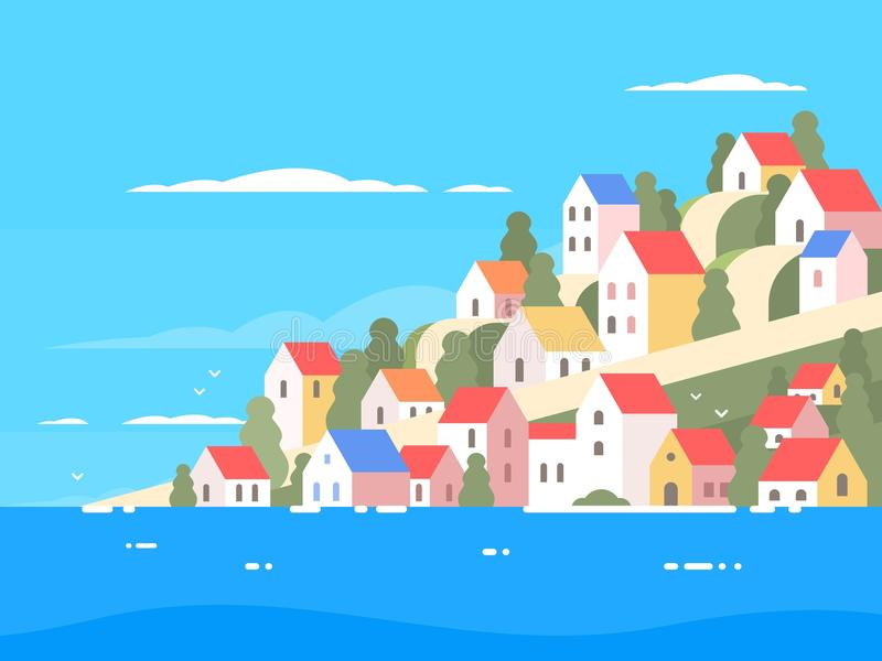 Häuser auf Küste von Griechenland lizenzfreie abbildung