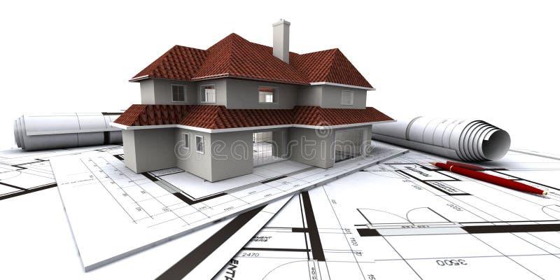 Häuser auf Plan des Architekten lizenzfreie abbildung