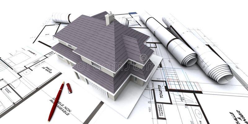 Häuser auf Plan des Architekten lizenzfreie stockfotografie