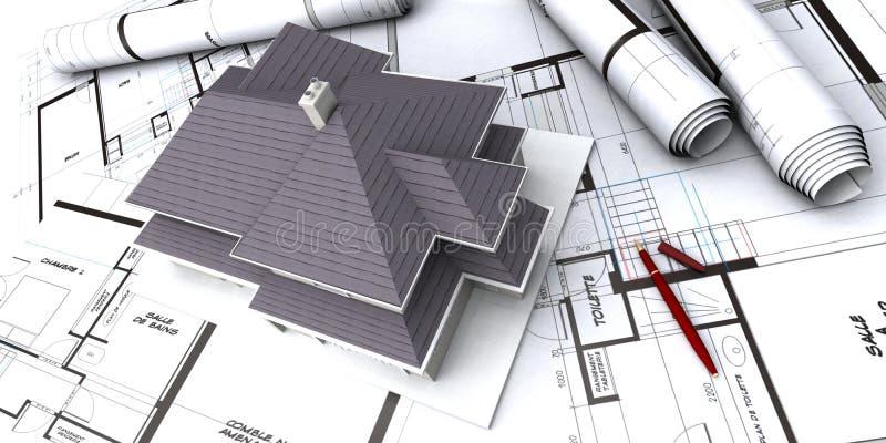 Häuser auf Plan des Architekten stockfotografie