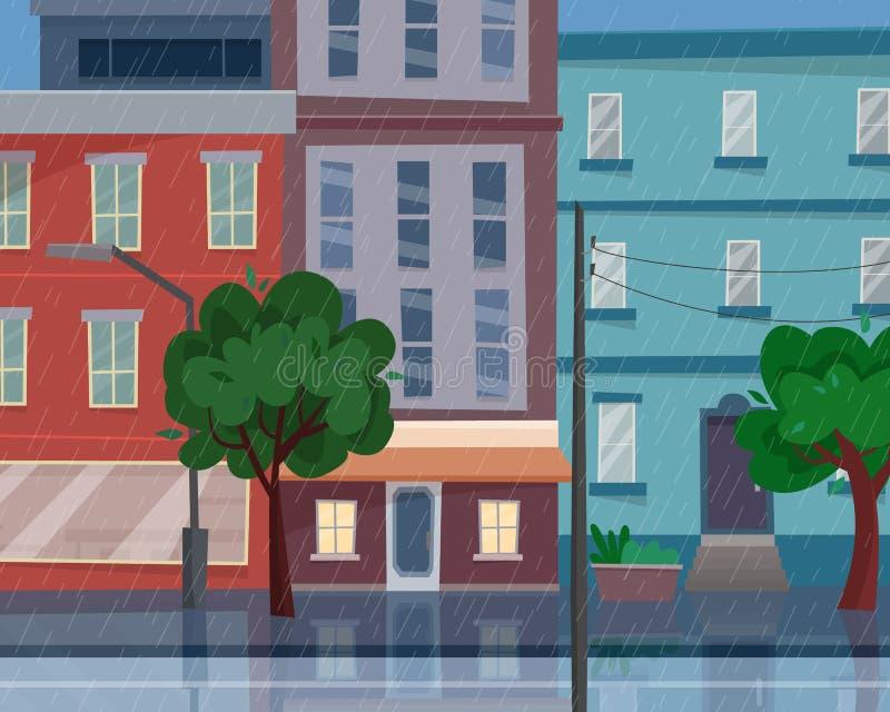 Häuser auf Straße mit Straße in der Stadt Regen in der Stadt cityscape lizenzfreie abbildung