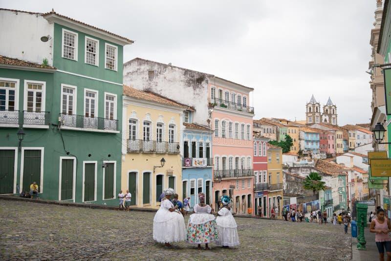 Häuser in der berühmten Stadt in Bahia, Salvador - Brasilien stockbild