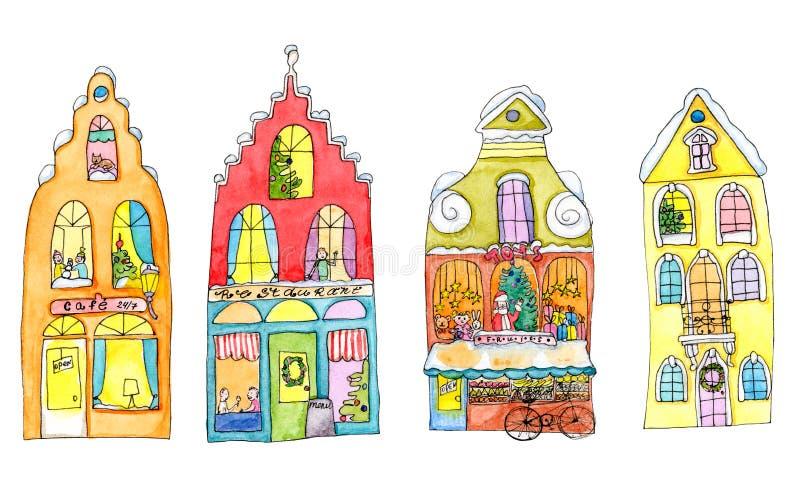 Häuser der frohen Weihnachten auf weiß- hell Aquarellillustration stockbild