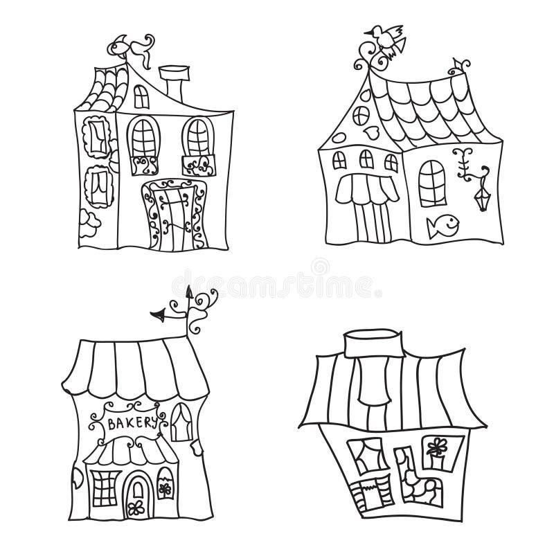 Häuser, die Seite färben vektor abbildung