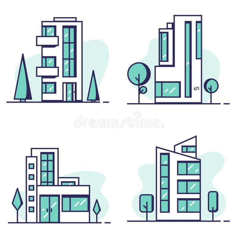Häuser eingestellte Linie Vektor vektor abbildung