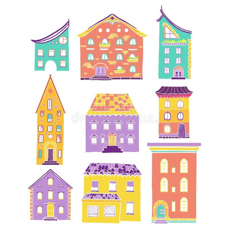 Häuser eingestelltes Gekritzel-Farblicht vektor abbildung