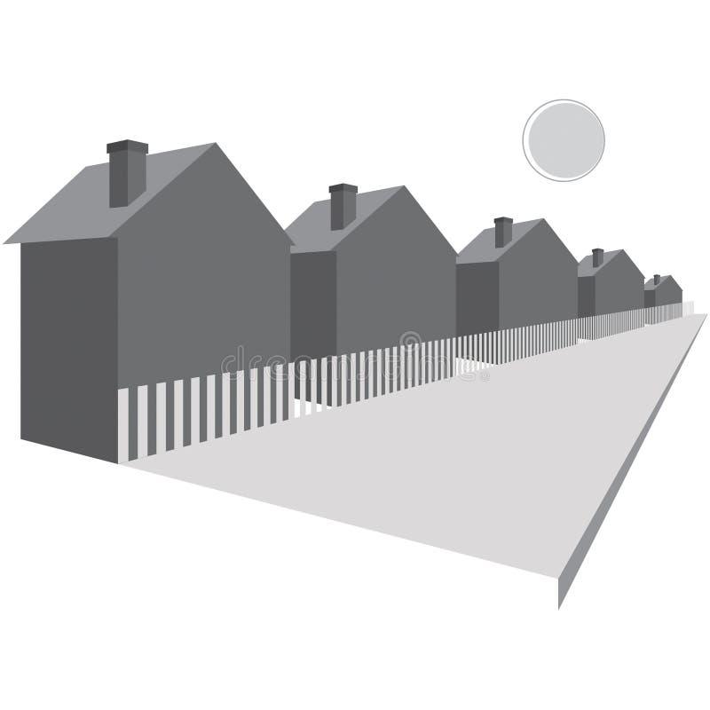 Häuser entlang einer Straße stock abbildung