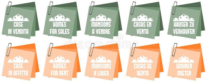 Häuser für Verkaufshäuser für Miete vektor abbildung