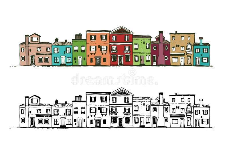 Häuser Gekritzel, Hand gezeichneter Vektorsatz stock abbildung