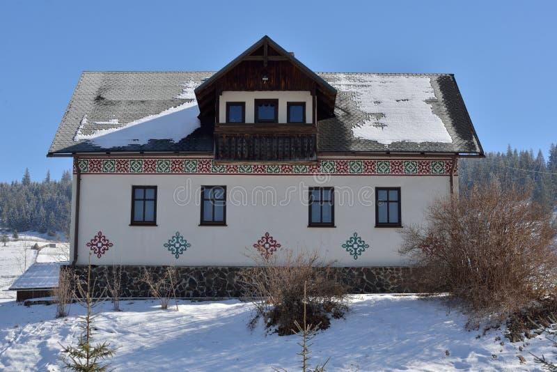 Häuser gemalt wie Ostereier, im Dorf Ciocanesti, Grafschaft Suceava, Rumänien lizenzfreie stockbilder