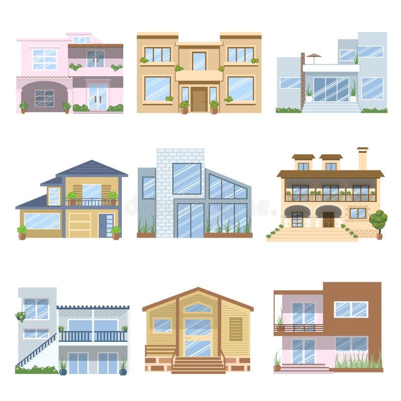 Häuser Mit Schönen Farben Und Entwürfen Vektor Abbildung ...