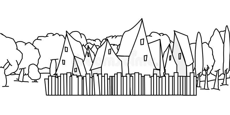 Häuser mit Zäunen und ein Wald von Bäumen hinten stock abbildung