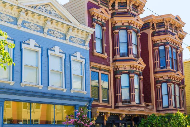 Häuser Sans Francisco Victorian in Pacific Heights Kalifornien stockbilder