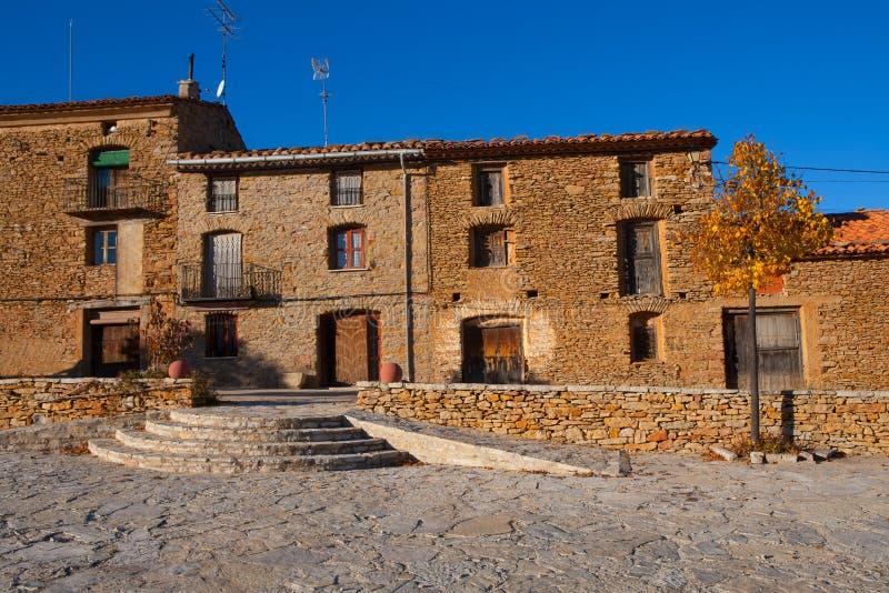 Häuser Villafrancadel Cid in Castellon Maestrazgo stockbild