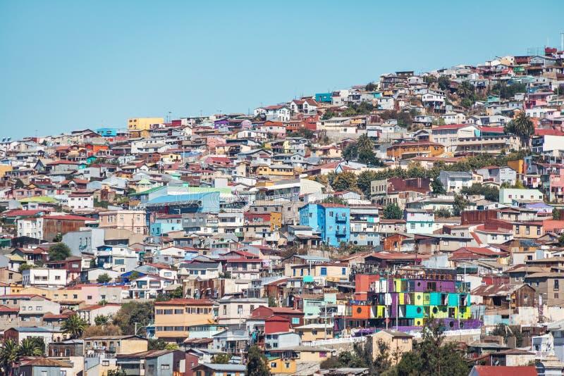 Häuser von Valparaiso-Ansicht von Hügel Cerros Concepción - Valparaiso, Chile lizenzfreies stockfoto