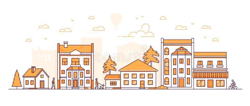 Häuserblock - moderne dünne Linie Designart-Vektorillustration stock abbildung