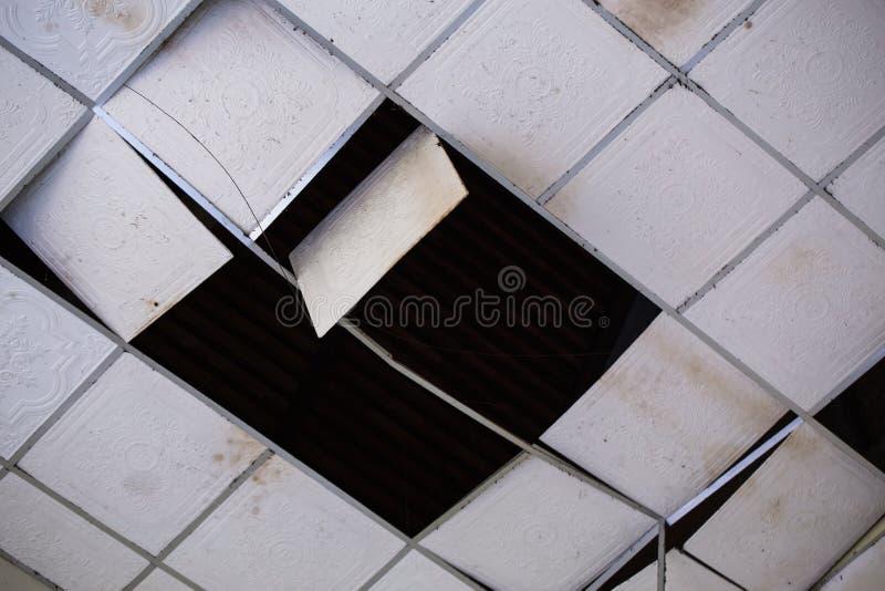 Häusliche Deckenplatten beschädigt stockfoto