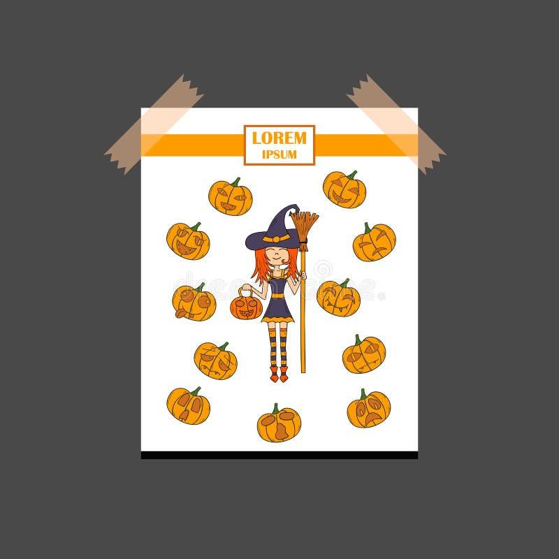 Download Häxa För Allhelgonaafton För Vektortecknad Film Hand Dragen Vektor Illustrationer - Illustration av halloween, illustration: 78731256