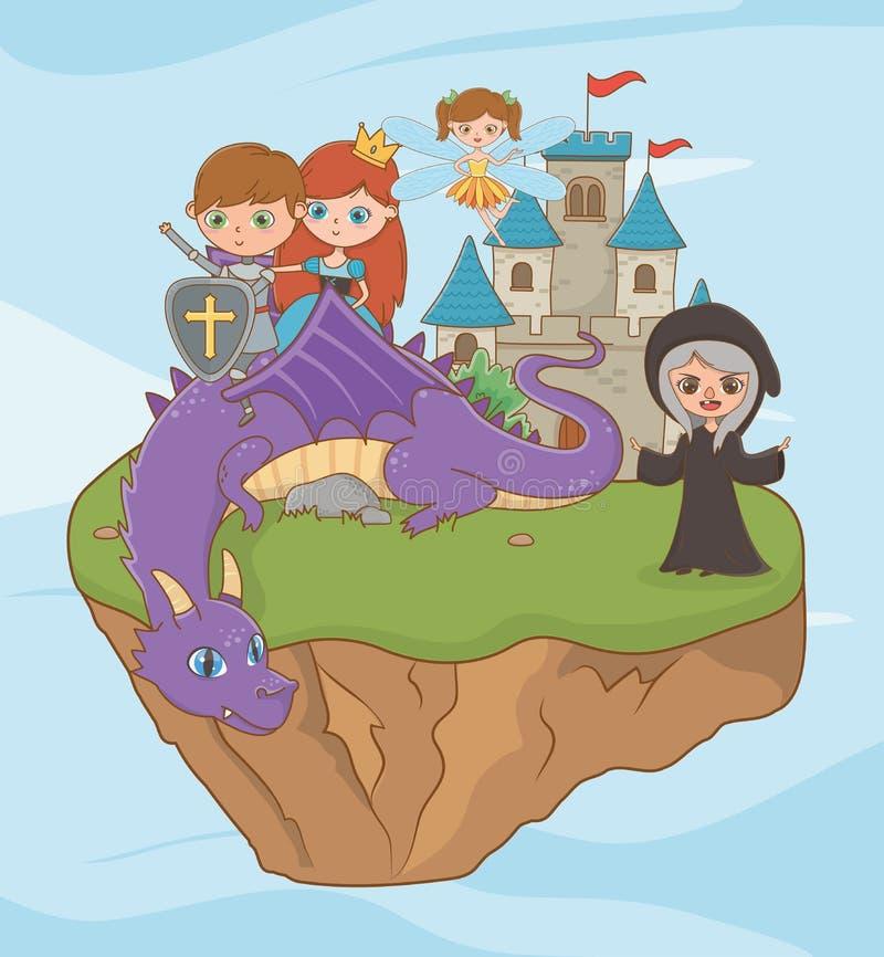 Häxa för prinsessariddaredrake och felik design vektor illustrationer