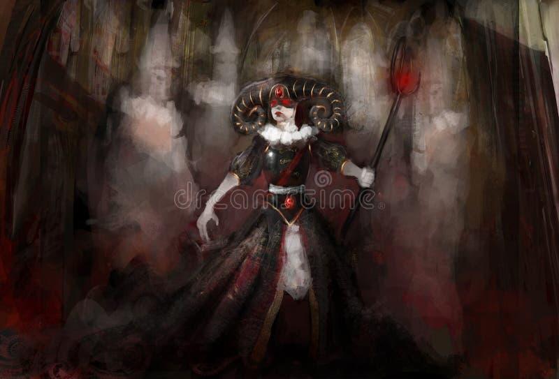 Häxa med spökar stock illustrationer