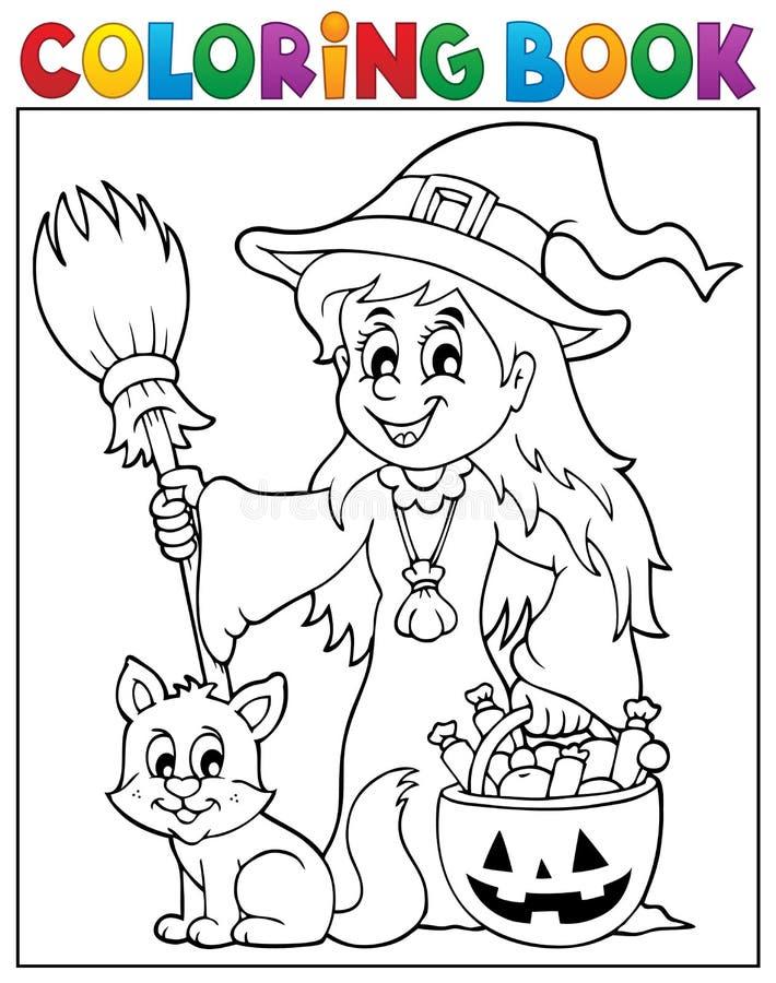 Häxa och katt för färgläggningbok gullig stock illustrationer
