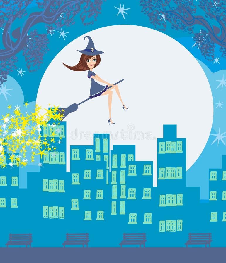 Häxa som flyger över staden royaltyfri illustrationer