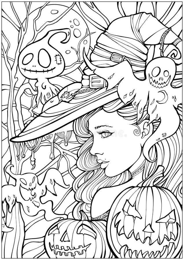 Häxa som omges av vänliga spökar vektor illustrationer