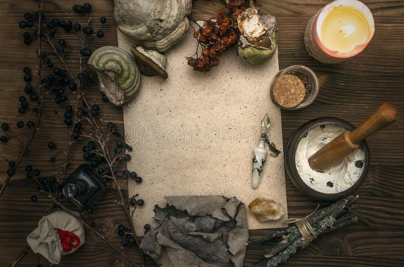 Häxadoktor shaman witchcraft Magisk tabell alternativt magasin för brunnsort för medicin för objekt för ginkgo för bambubadbiloba royaltyfri bild