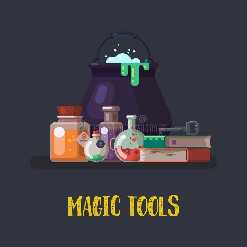 Häxakittel och magiska böcker, flaska halloween stock illustrationer
