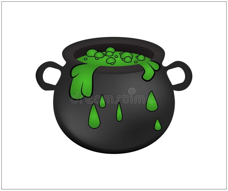 Häxakitteln med grön dryck som bubblar häxor, bryggar Realistisk vektorillustration på vit bakgrund royaltyfri illustrationer
