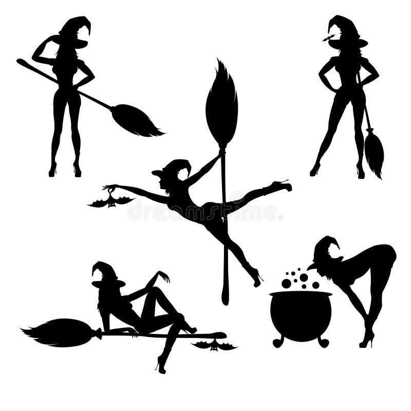 Häxakontur med kvasten, kitteln och ett slagträ royaltyfri illustrationer