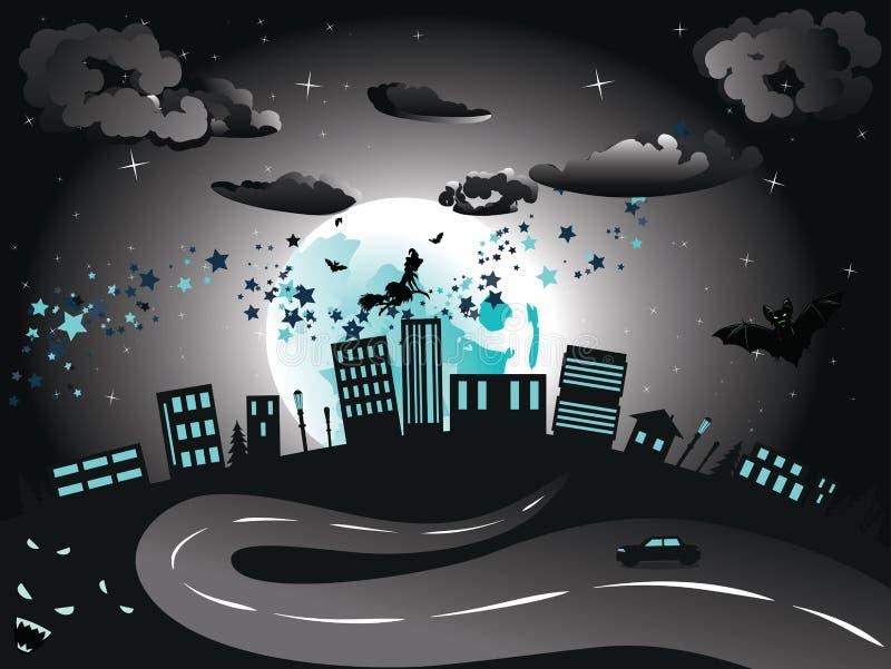 Häxan är kommande till staden vektor illustrationer