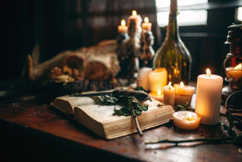 Häxeri mörk magi, stearinljus med den rituella boken arkivbild