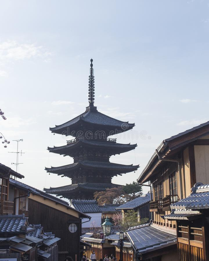 Hōkanji Temple Yasaka-no-Tou and rooftops of the Gion area on a sunny day in Kyoto. J stock images