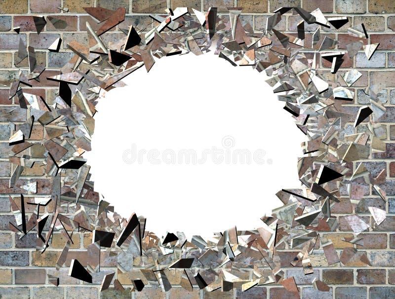 Hål i väggen - exploderande vägg stock illustrationer