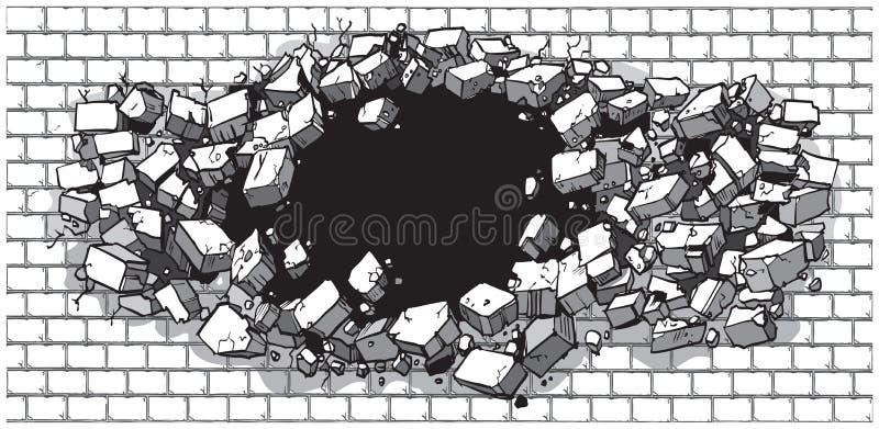 Hål som bryter till och med den breda tegelstenväggen royaltyfri illustrationer