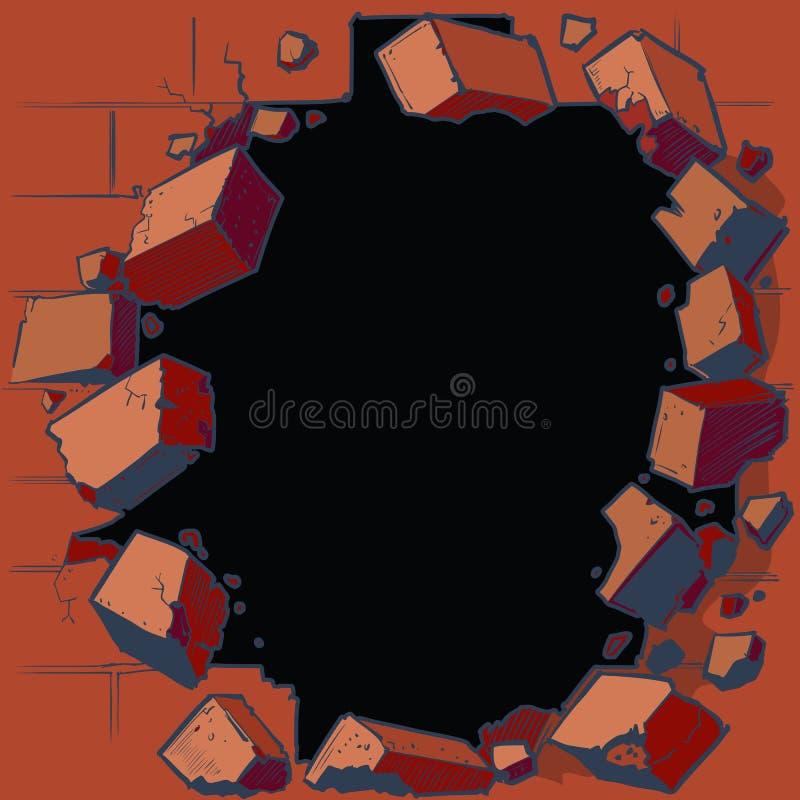 Hål som bryter till och med väggen för röd tegelsten stock illustrationer