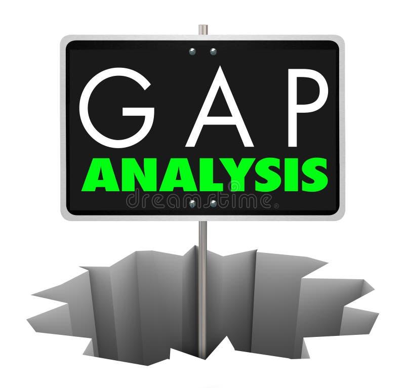 Hålet för det Gap analystecknet analyserar affärsbristen 3d Illustratio vektor illustrationer