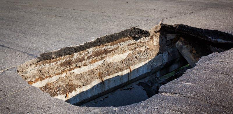 Hålet i asfaltvägen royaltyfria foton