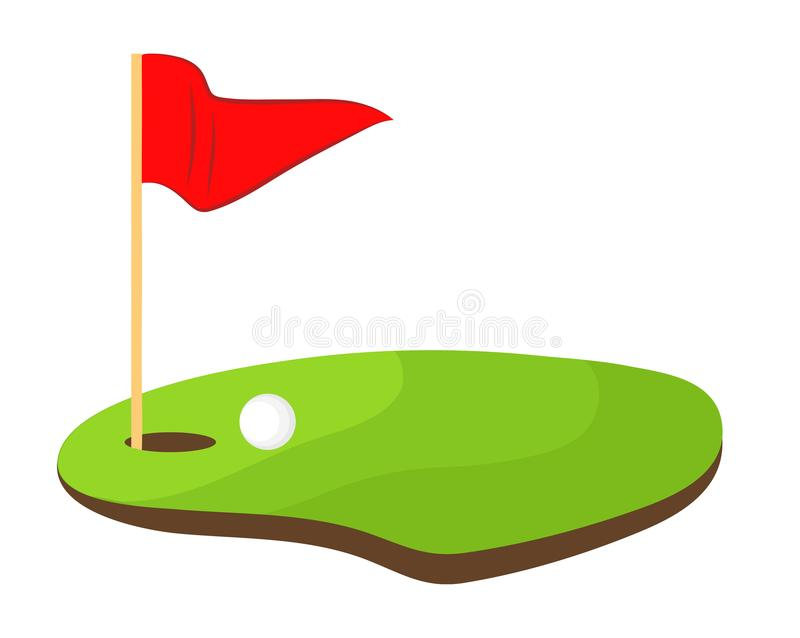 Hålgolf med bollen för den röda flaggan och vitlagerför vektorillustrationen stock illustrationer