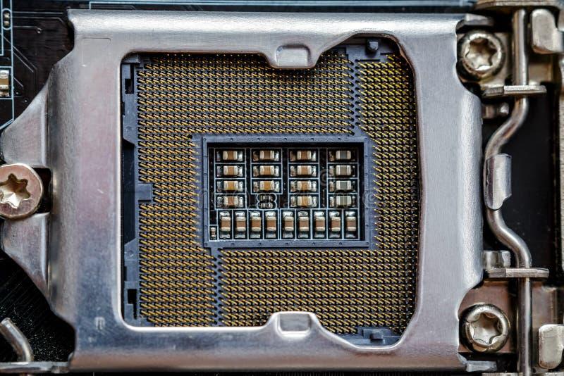 Hålighet för processorn eller CPU, bästa sikt, makrofoto Maskinvara för elektronisk dator arkivbild