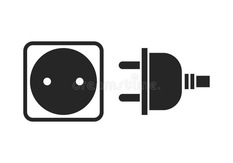 Hålighet och propp Plan symbol, svart kontur av apparaten av elektricitet royaltyfri illustrationer
