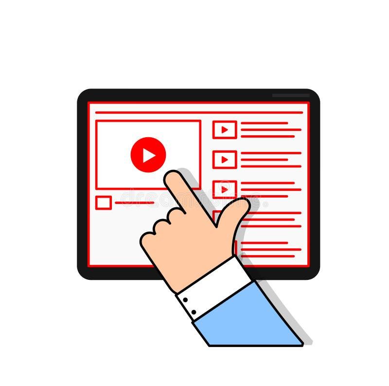 Håll ögonen på online-video och prenumerera vektordiagrammet royaltyfria bilder